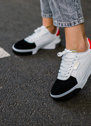 Кроссовки женские Puma Cali Remix Red\White\Black suede