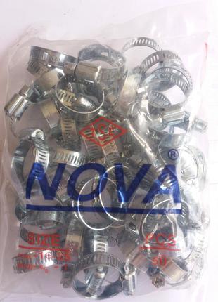 Хомут червячный Nova (Хомут металевий черв'ячний) 16-25 мм 50шт у