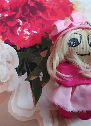 Кукла брелок 10 розовая на рюкзак сумку ручная работа