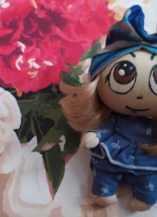 Кукла брелок 9 синяя на рюкзак сумку ручная работа