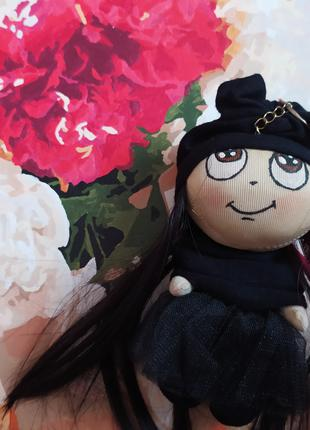 Кукла брелок 6 гот эмо черная на рюкзак сумку ручная работа
