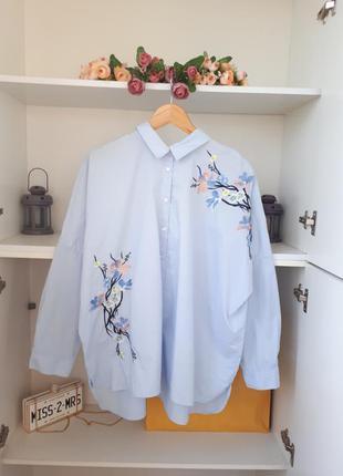 Хлопковая рубашка с вышивкой длинный рукав george
