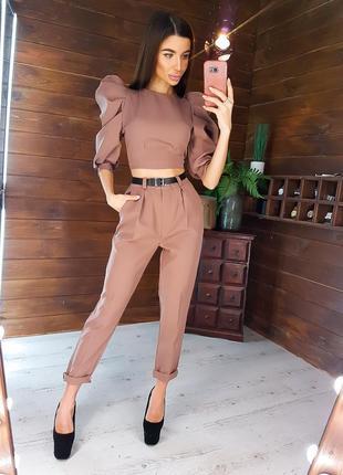 Стильный костюм:   брюки с завышенной талией