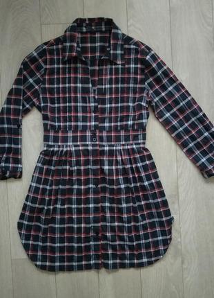 Распродажа до 27.02! брендовое базовое платье - рубашка в клет...