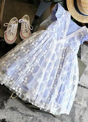 Платье сетка кружево полоска модное