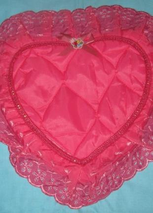 Наволочка-сердечко на подушку, розовая.  бюджетно