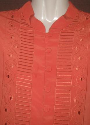 Блузка женская с длинным рукавом на пуговицах. коралловая. дешево