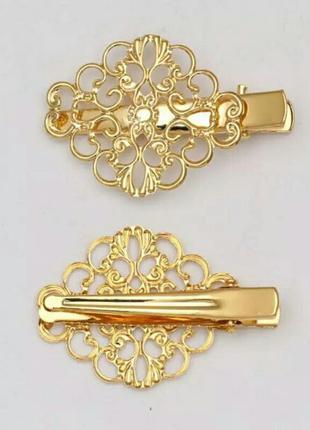 Красивая винтажная заколка для волос золотистая +жемчужные сер...
