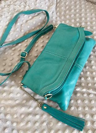 Женская кожаная сумка-клатч