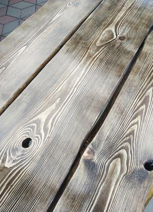 Столик з необрізної дошки із кованими ніжками 2м