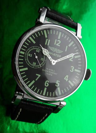 БОЛЬШИЕ часы «Молния_AVIATOR» мех. 50-х. СОВРЕМЕННЫЙ дизайн +