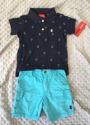 Костюм комплект набор футболка {поло} и шорты 9-12 месяцев
