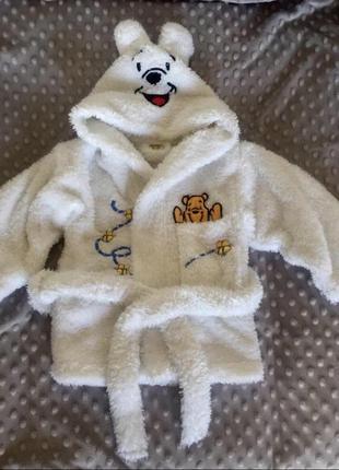 Детский белый халатик 0-3 м