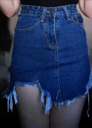 Юбка джинсовая высокая талия