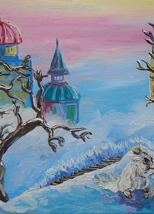 """Картина маслом """"Зимовий світанок"""""""