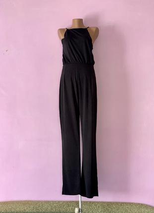 Стильный комбинезон брючный с брюками черный кюлоты