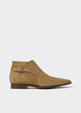 Замшевые полуботинки zara man leather ankle boots !