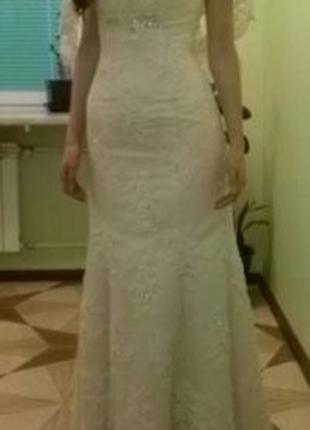 Платье свадебное оригинальное, французский силует, цвет шампань