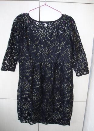 Платье гипюр с золотом