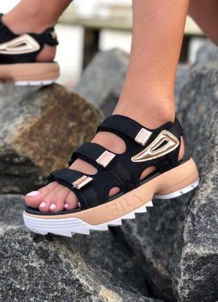 Fila sandals ✰ женские босоножки ✰ сандалии черного цвета 😻