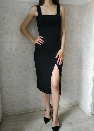 Платье миди, черный сарафан женский, женский сарафан , платье с