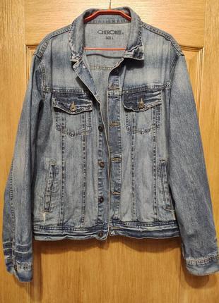 Cherokee мужская джинсовая куртка, пиджак, джинсовка с потерто...
