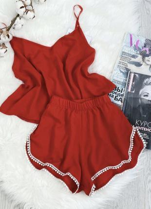 Комплект шорты и майка, красный
