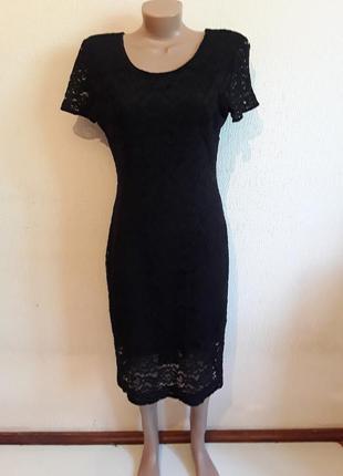 Черное платье  с кружева