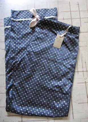 Брюки пижамные атласные черные в горошек dunnes stores (14-16)