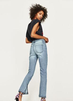 Голубые джинсы с высокой талией zara размер 34