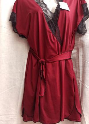 Комплект атласный с кружевом, рубашка и халат, тм glamour