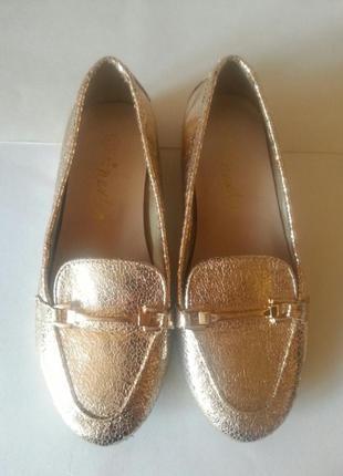 Лоферы туфельки балетки золотистый металлик next