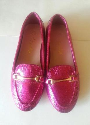 Лоферы туфельки балетки розовый металлик nex