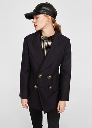 Короткое шерстяное пальто zara