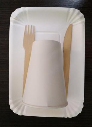"""Набор  одноразовой бумажной посуды на 6 персон """"Эко Пикник"""""""