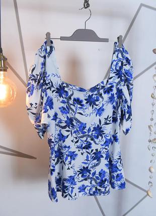 Бело голубая блузка с рукавами фонариками. хенд мейд