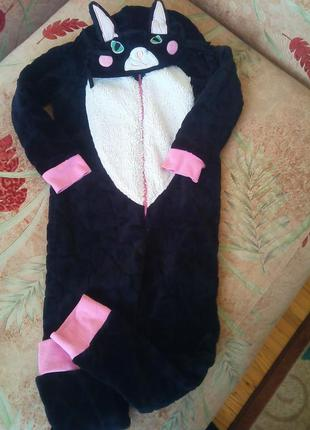 Человечек, tu, кигуруми, пижама, черная кошка