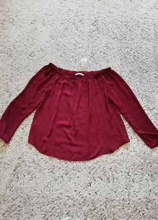 Блузка с открытыми плечами, блузка бордовая, блузка george