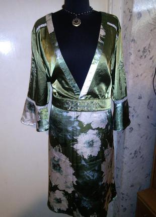 """Красивейшая,""""атласная"""" туника-платье (кимоно) с поясом и изящн..."""