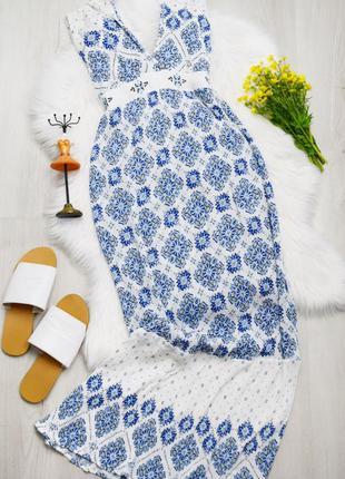 Легкий сарафан в пол длинный стильный летний бело голубое плат...