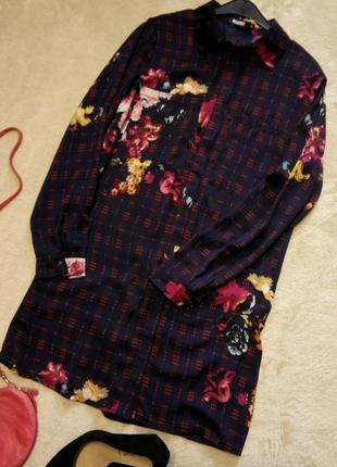 Платье мини,рубашка туника в клетку цветочный принт размер 6-8...