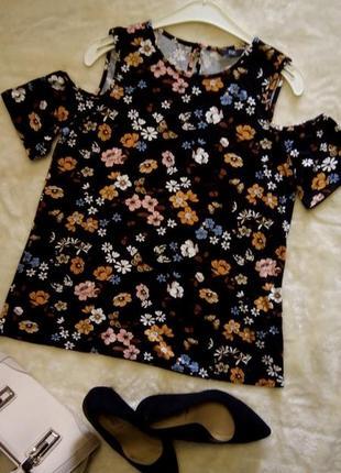 Блузка с открытыми плечами,цветочный принт размер 10-12  f&f
