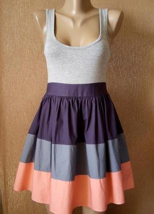 Платье трикотаж,коттон летнее с бантом размер 8 topshop