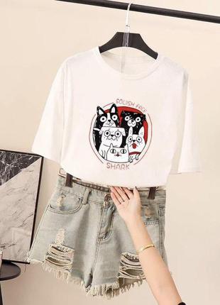 💙трендовые белые футболки с мопсами