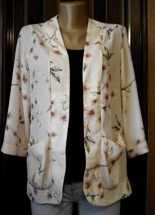 Пиджак кордиган накидка в нежный цветочный принт размер 10-12 ...