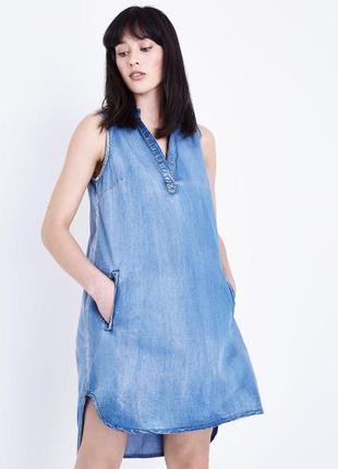 Джинсовое платье рубашка без рукавов трапеция с удлинённой спиной