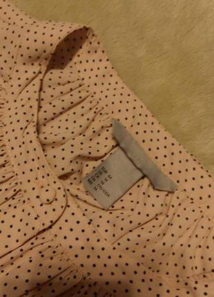 Нежная как шёлк блузка в мелкий горошек пудрового цвета размер...