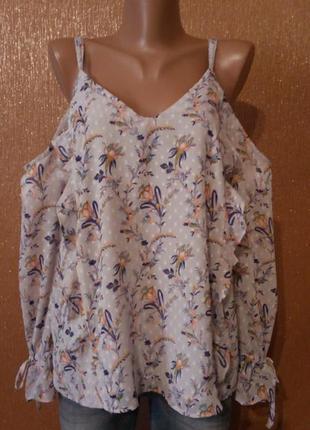 Блузка с открытыми плечами,воланами размер 12 new look
