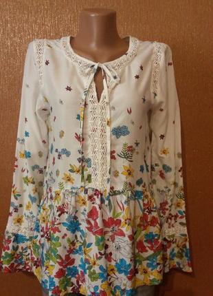 Лёгкая блузка с баской в цветочный принт размер 8 per una