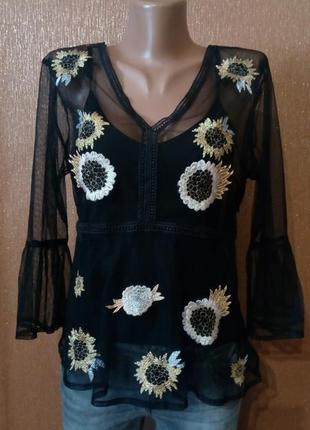 Блузка сетка с вышивкой размер 12-14 river island